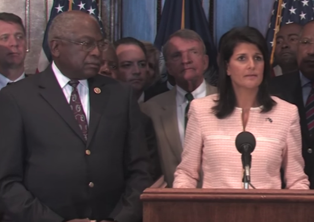 Image via this video of Haley's press conference calling for the Confederate flag to come down in SC - 6/22/15. https://youtu.be/fjeyUXJv84c - uploaded 3/7/19 by Stacey.